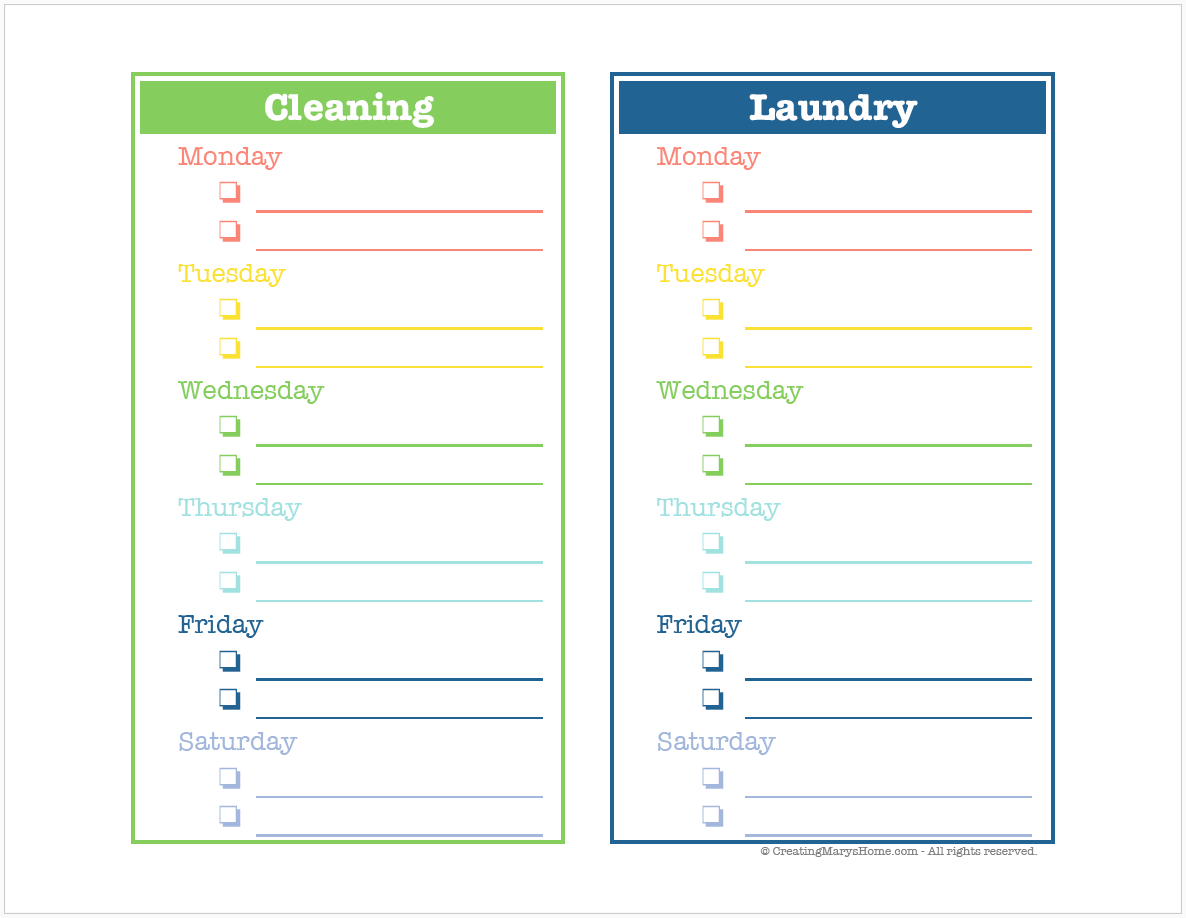 Customizable Cleaning & Laundry Printable - sample included in pack