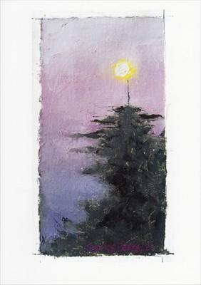'Full Moon above Tree' Notecard
