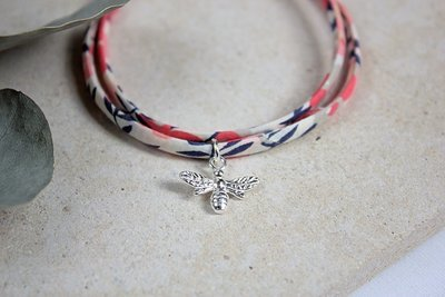 Liberty Fabric Silver Bee Wrap Bracelet ★
