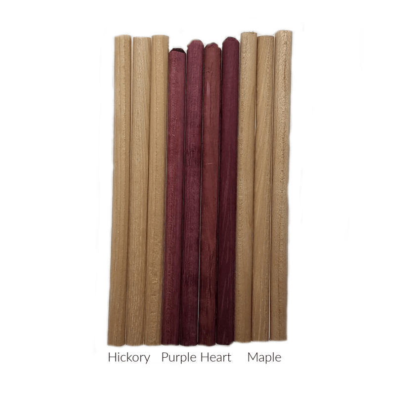 Ten (10) Maple, Hickory & Purple Heart Turkey Call Striker Dowels Build Your Own