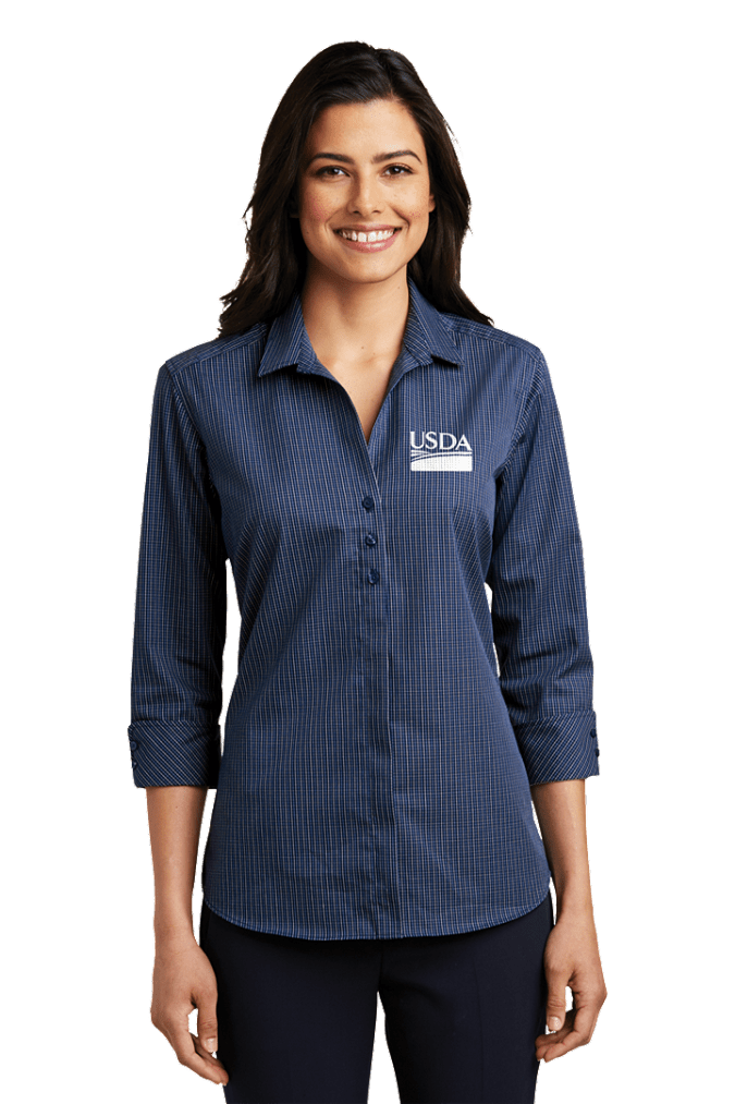 Ladies 3/4-Sleeve Micro Tattersall Easy Care Shirt by Port Authority