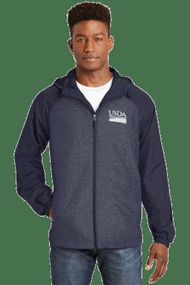 Unisex Heather Colorblock Raglan Hooded Full Zip Wind Jacket