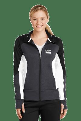 Ladies Tech Fleece Color Block Full Zip Hooded Jacket