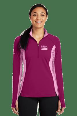 Ladies Sport Wick Stretch Contrast 1/2 Zip Pullover