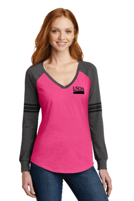 District Made Women's Game Long Sleeve V-Neck Tee