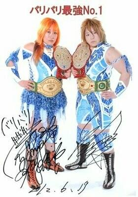 Kayoko Haruyama and Tsubasa Kuragaki Signed Photograph (A4 Size)