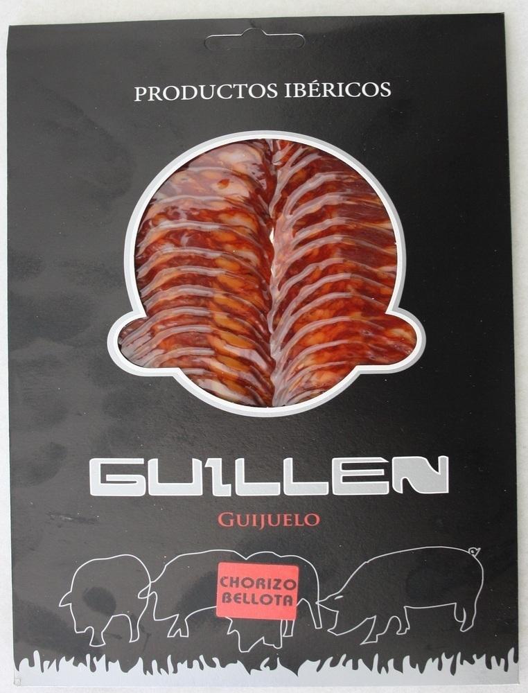 Loncheado Chorizo Ibérico Bellota - Peso aproximado: 100 g. GUILLEN-122