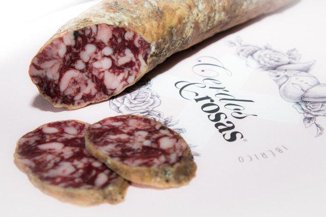 Cerdos y Rosas: Salchichón Ibérico de Bellota. Peso aproximado 1,2kg CR-Sa-Ib-Be-01