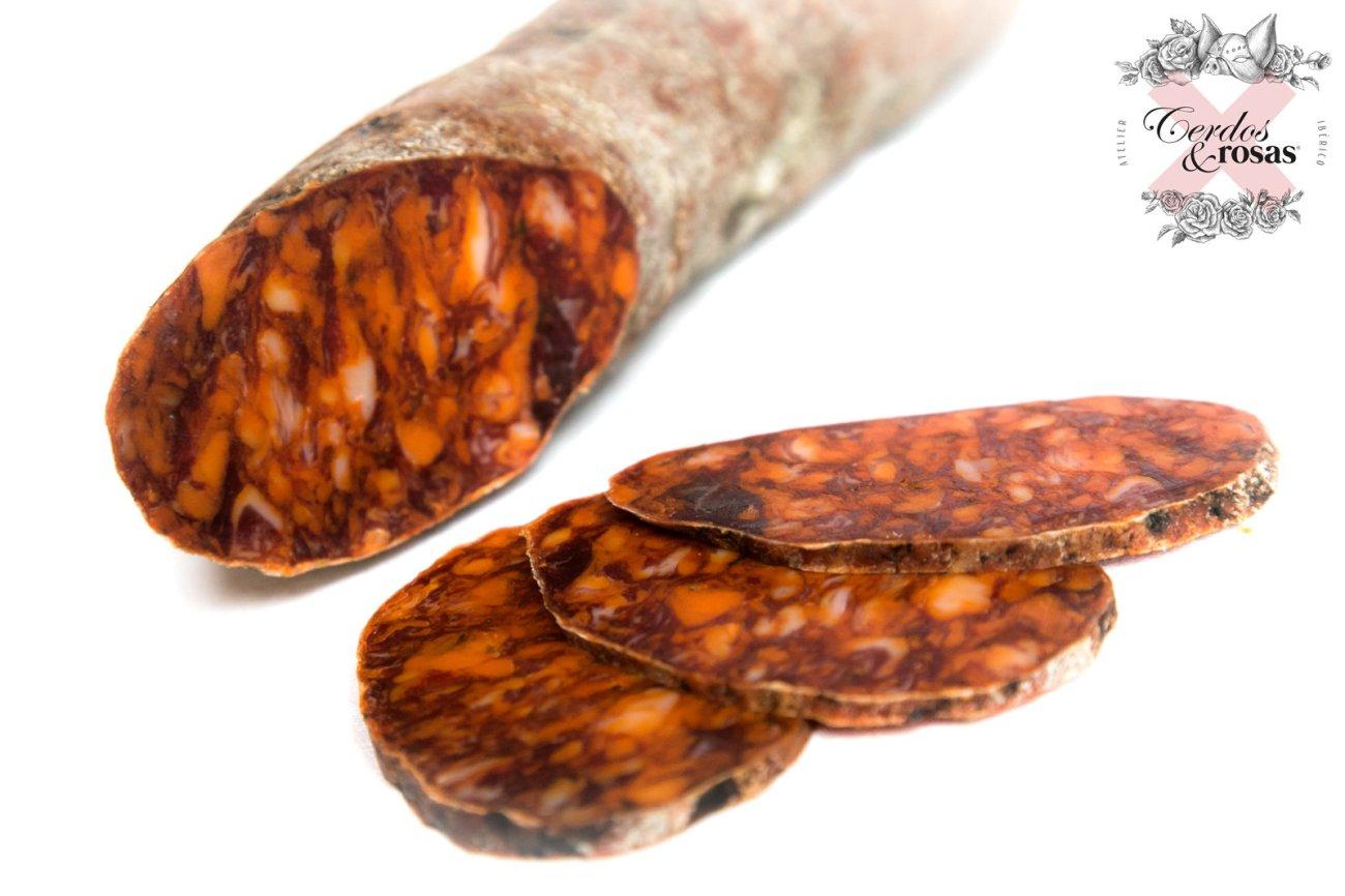 Cerdos y Rosas: Chorizo Ibérico de Bellota. Peso aproximado 1,2kg CR-Ch-Ib-Be-01