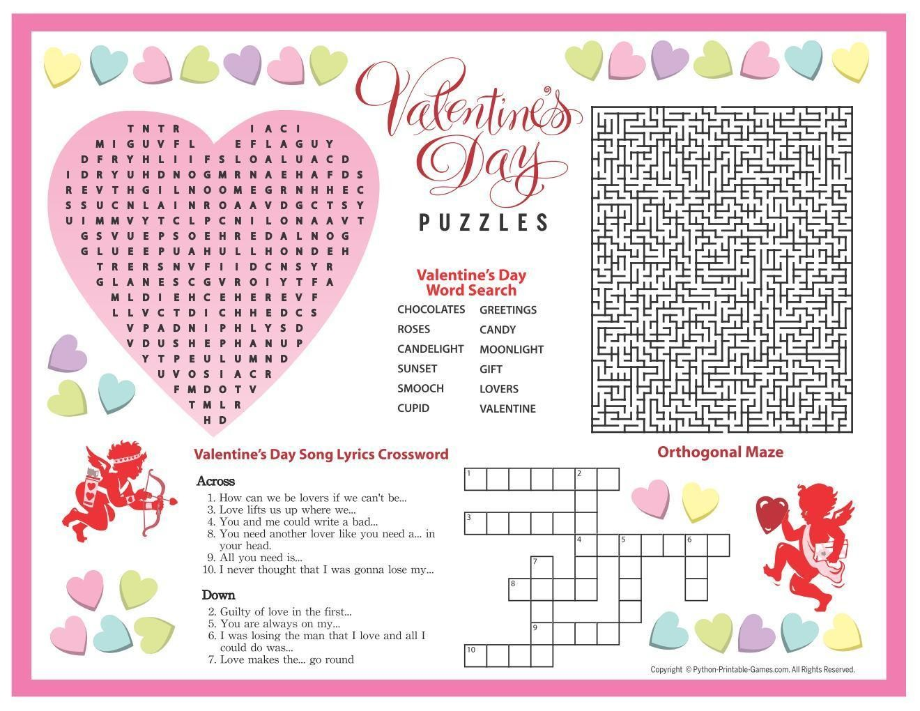 Old Fashioned Valentine Crossword Puzzle Printable