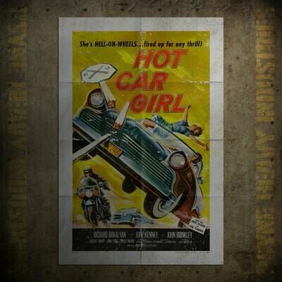 Hot Car Girl Vintage Movie Poster