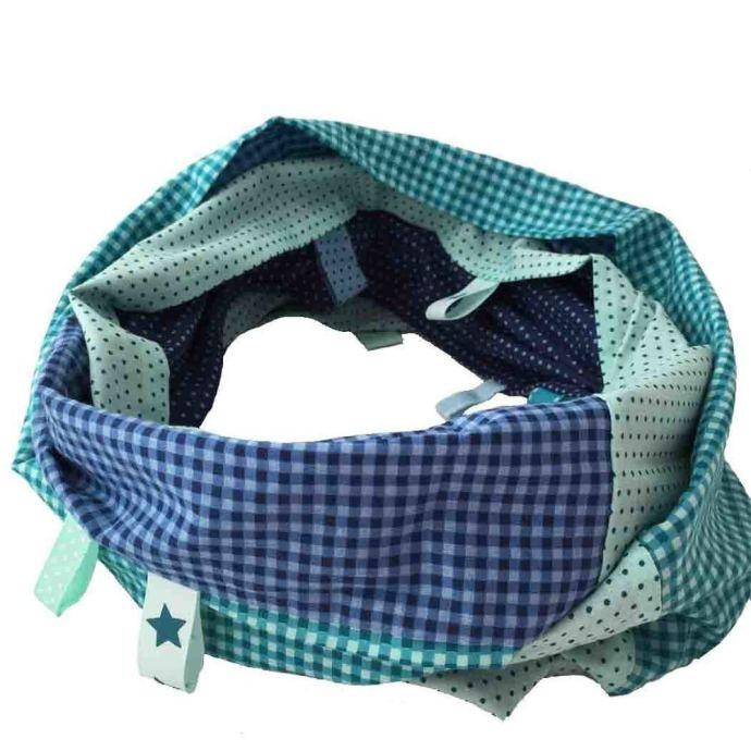 Foulard tube en coton bleu et vert d'eau Ados-Adultes 1601/L