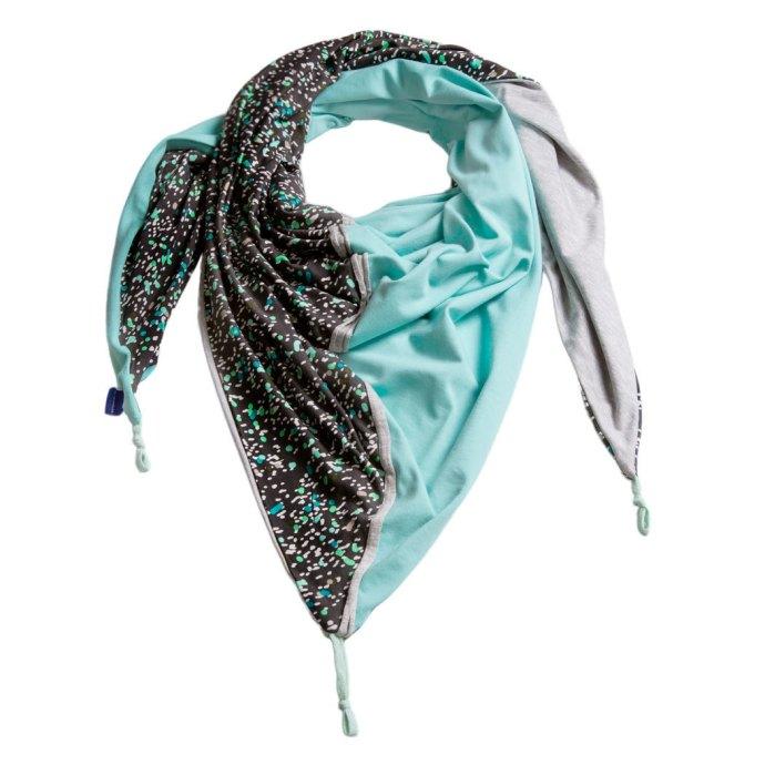 Chèche femme en jersey taupe foncé et vert d'eau PE16-027-L