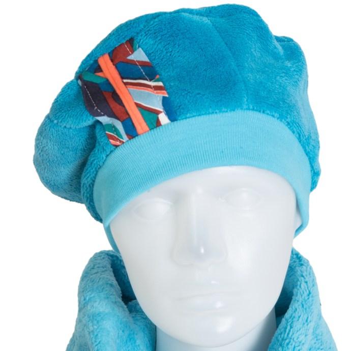 Béret femme hiver en polaire turquoise doux et chaud BE-17010-XL