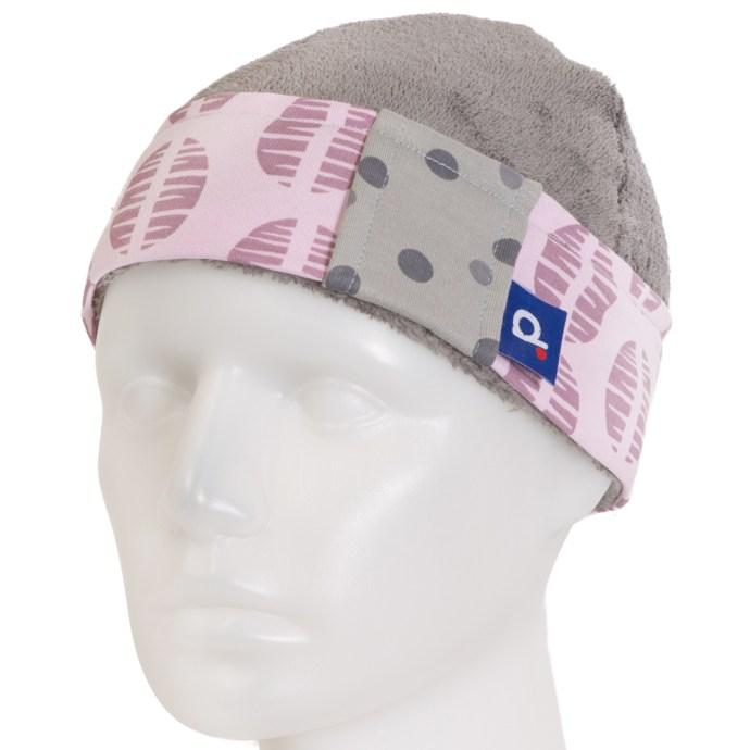 Bonnet pour fille en polaire gris et jersey pois 2-3 ans BO-17014-S
