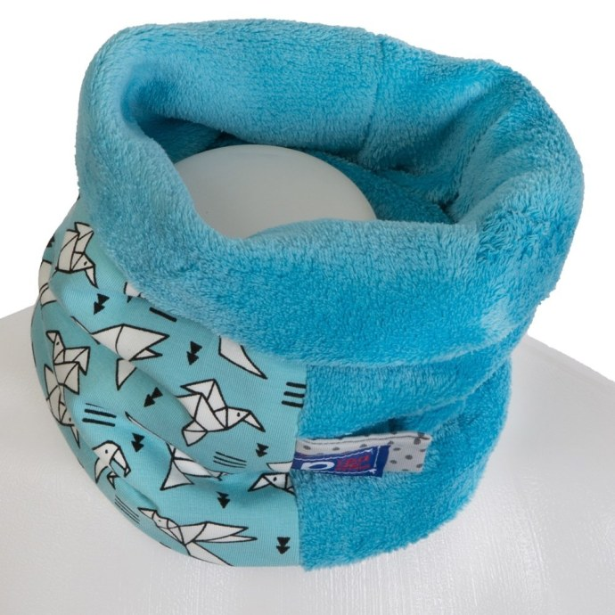Echarpe tube garçon en polaire bleu et motifs origami SH-17015-S