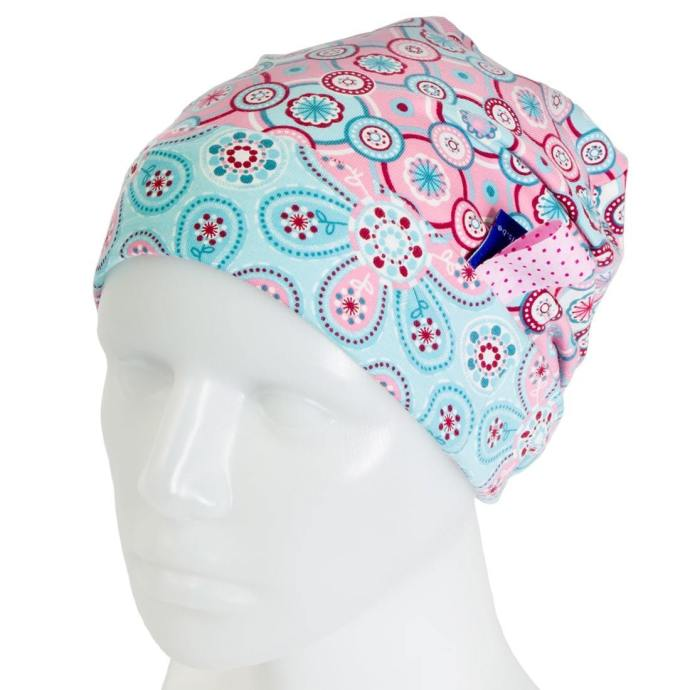 Bonnet fille réversible fleurs rose et bleu 3-6 ans BP-17006-M