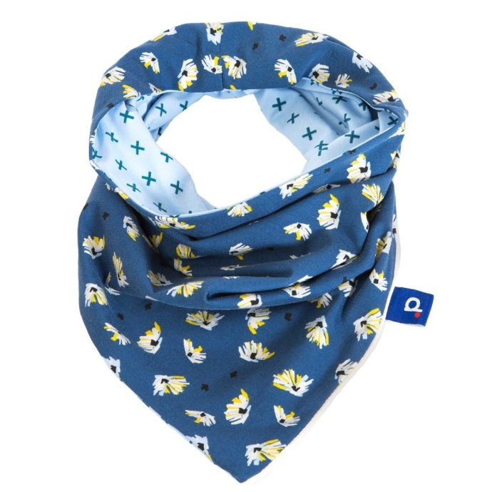 Snood fille bleu réversible à fleurs et signe + 6-12 ans SP-17021-M