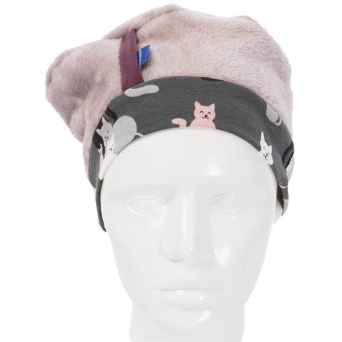 Béret fille polaire ultra doux 3-6 ans rose et gris BF-18003-M