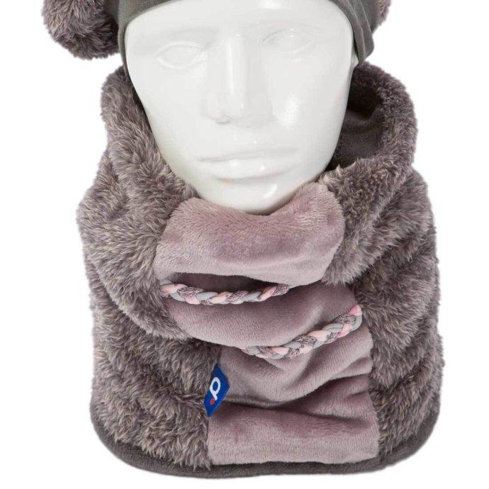 Tour de cou fille en polaire 6-12 ans gris chiné rose SH-18007-M