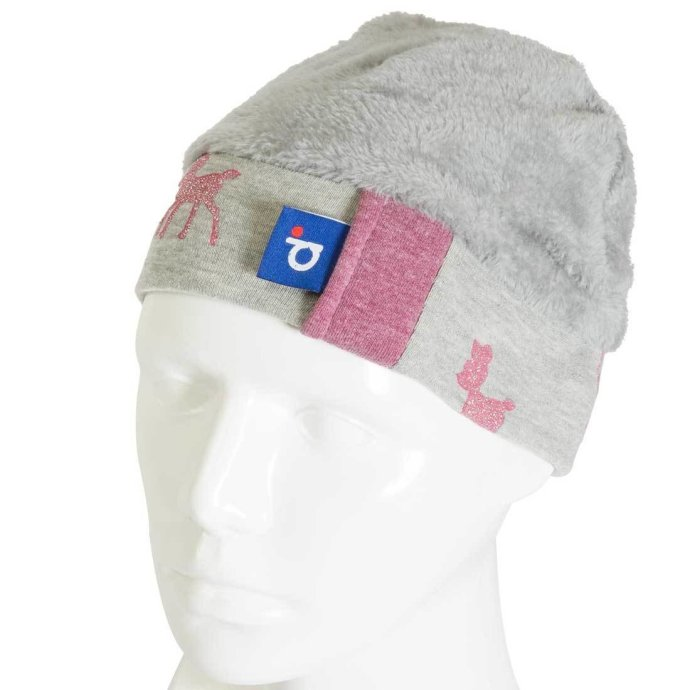 Bonnet pour fille paillettes de bambi 3-6 ans rose et gris BO-18011-M