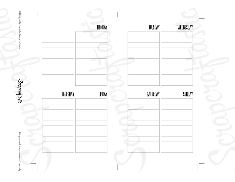 Oversized Lined Full Box Printable Planner Insert Refill Undated WO2P Personal Size - Horizontal Days