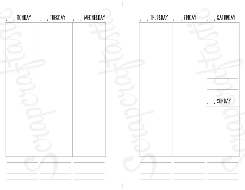 Planner Printable Insert Refill Undated WO2P Half Page fits A5 Binder - Filofax, Kikki K, Erin Condren width columns