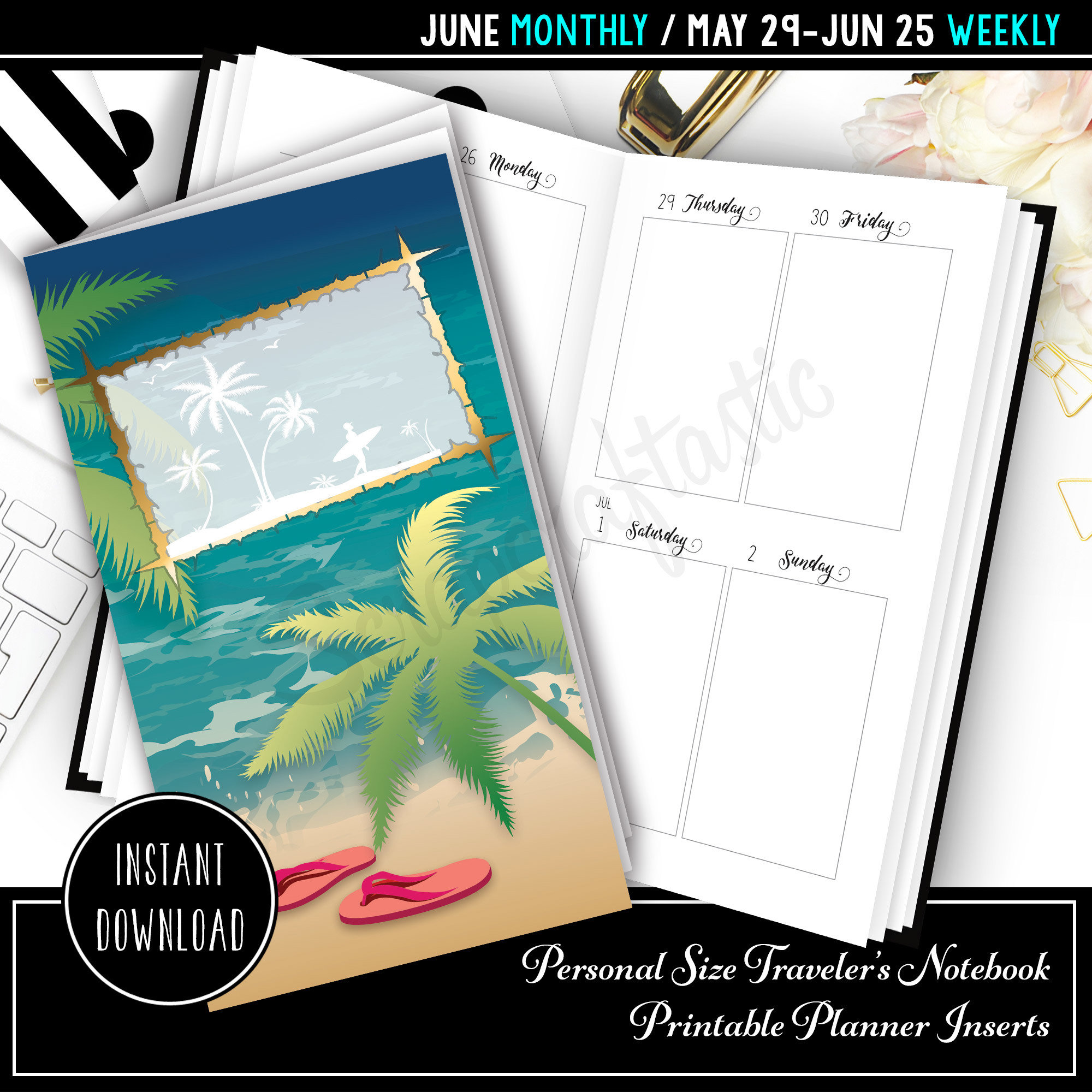 June 2017 Personal Size Traveler's Notebook Printable Planner Inserts 09000