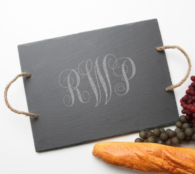 Personalized Slate Serving Tray Rope 15 x 12 DESIGN 1 SST-001