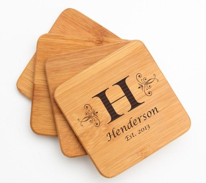 Personalized Bamboo Coasters Engraved Bamboo Coaster Set DESIGN 2 BCS-002