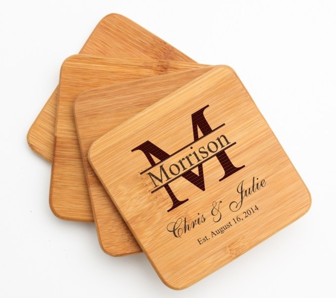 Personalized Bamboo Coasters Engraved Bamboo Coaster Set DESIGN 24 BCS-024