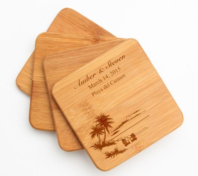 Personalized Bamboo Coasters Engraved Bamboo Coaster Set DESIGN 33 BCS-033