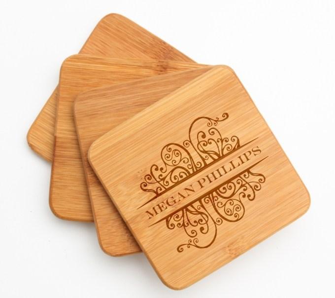 Personalized Bamboo Coasters Engraved Bamboo Coaster Set DESIGN 4 BCS-004