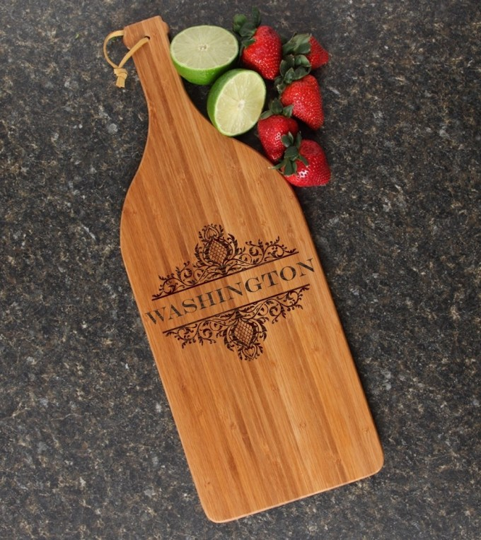 Personalized Cutting Board Engraved Bamboo 16 x 5 DESIGN 36 CBD-036