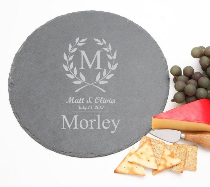 Personalized Slate Cheese Board Round 12 x 12 DESIGN 6 SCBR-006