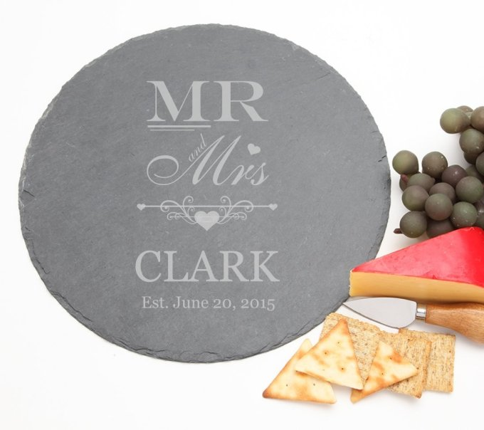 Personalized Slate Cheese Board Round 12 x 12 DESIGN 21 SCBR-021
