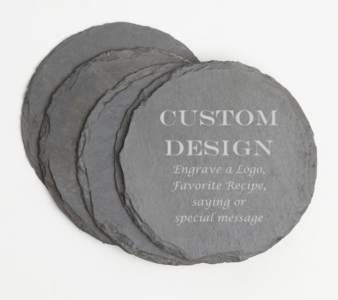 Personalized Slate Coasters Round Engraved Slate Coaster Set DESIGN 13 SCSR-013