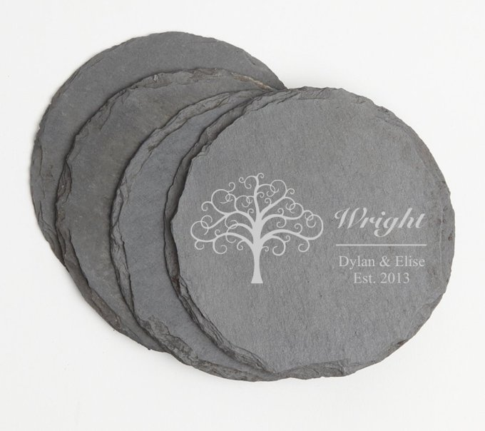 Personalized Slate Coasters Round Engraved Slate Coaster Set DESIGN 18 SCSR-018