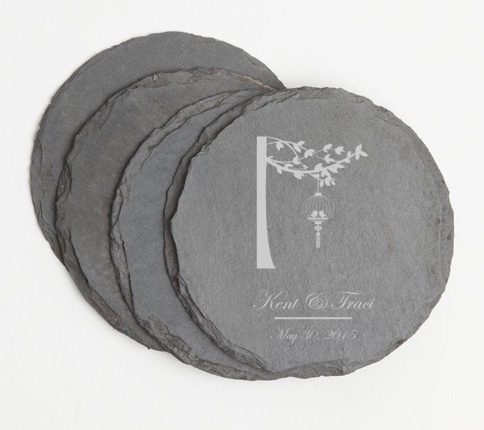 Personalized Slate Coasters Round Engraved Slate Coaster Set DESIGN 32 SCSR-032