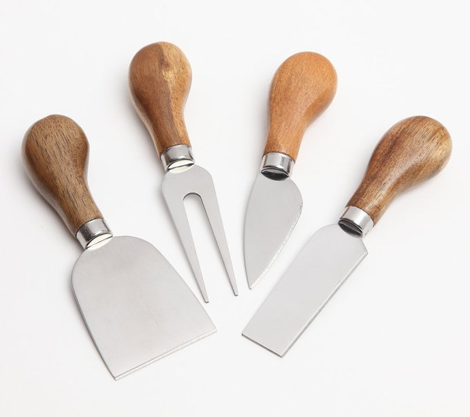 Acacia Wood and Stainless Steel Cheese Utensils
