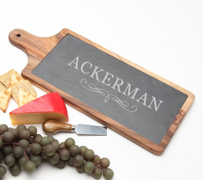 Personalized Cheese Board Slate and Acacia Wood 17 x 7 DESIGN 8 SCBA-008