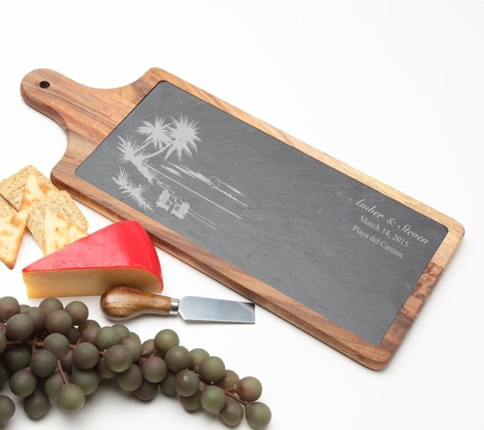 Personalized Cheese Board Slate and Acacia Wood 17 x 7 DESIGN 33 SCBA-033