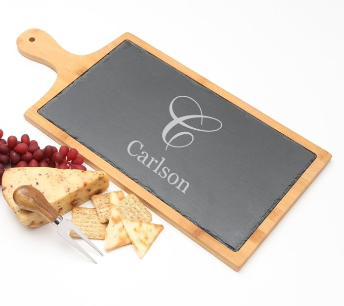 Personalized Cheese Board Slate and Bamboo Wood 19 x 9 DESIGN 3 SCBB-003