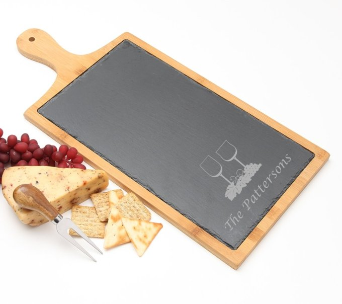 Personalized Cheese Board Slate and Bamboo Wood 19 x 9 DESIGN 5 SCBB-005
