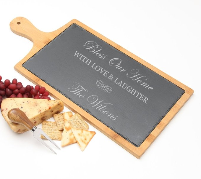 Personalized Cheese Board Slate and Bamboo 19 x 9 DESIGN 22 SCBB-022