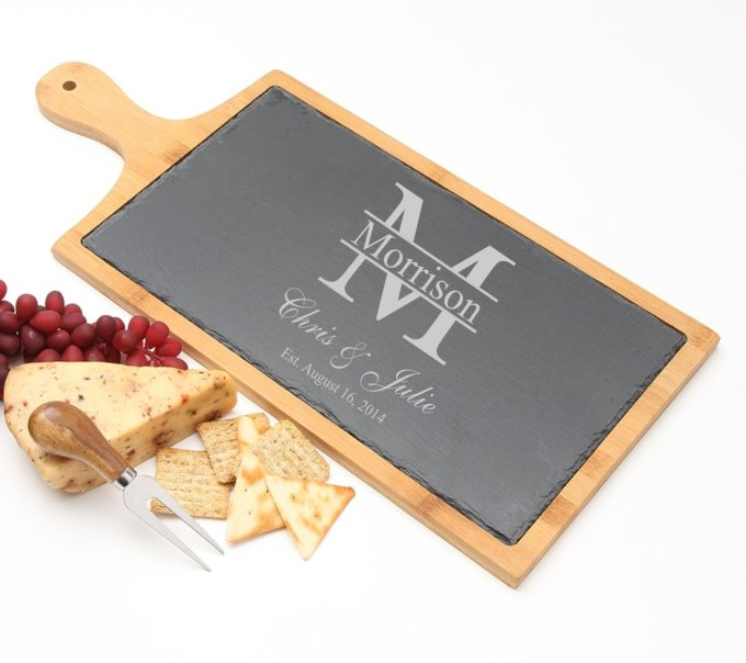 Personalized Cheese Board Slate and Bamboo 19 x 9 DESIGN 24 SCBB-024