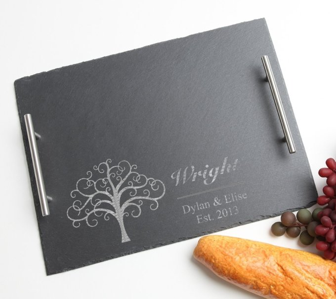 Personalized Slate Serving Tray Stainless 15 x 12 DESIGN 18 SSTS-018