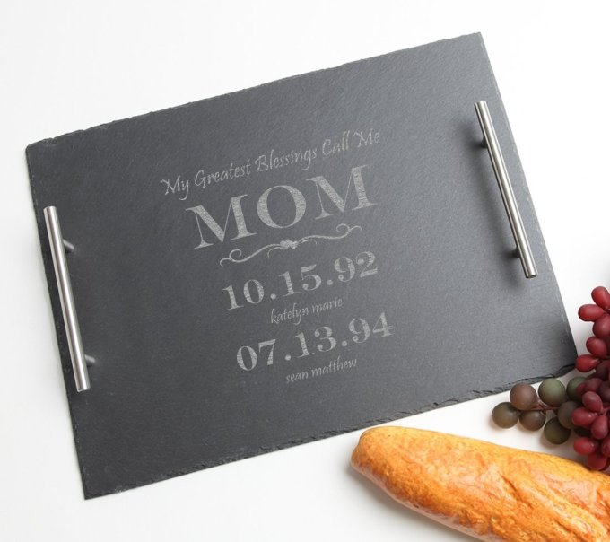 Personalized Slate Serving Tray Stainless 15 x 12 DESIGN 38 SSTS-038