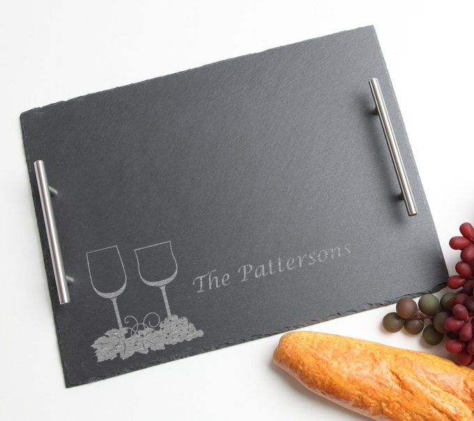 Personalized Slate Serving Tray Stainless 15 x 12 DESIGN 5 SSTS-005