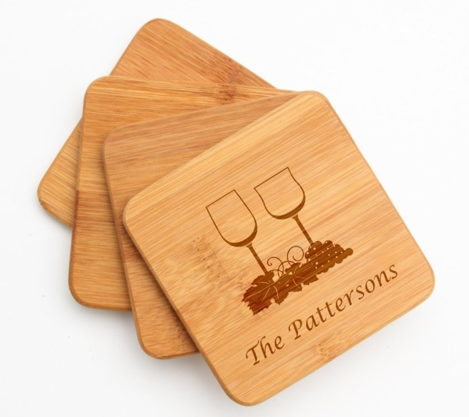 Engraved Bamboo Coasters